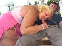 Huge lady sucking appetizing cock