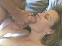 Blonde plumper gets cum in mouth