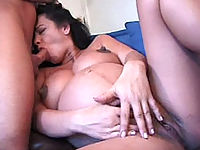 Knocked up bitch getting pounded doggie style on the sofa