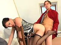 Sultry babe in reinforced toes pantyhose luring her boss into wild fucking