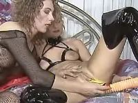 Hot lesbian with dildo spoils chick