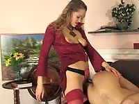 Tied and blindfold guy ready for everything in strap-on fucking with hottie
