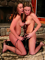 Fireside fucking machine action with Harmony and Lexi Bardot