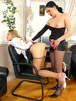 Nylon clad lady-boss seducing her secretary into steamy strap-on fucking