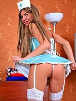 Blonde nurse Jessika does upskirts and plays with dildo