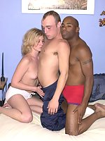 Horny ebony and ivory bisexuals engaging in double penetration action