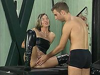 Young guy fucking with mature vixen