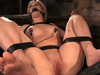 blonde girl in bondage and fucked.