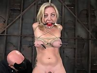 Big titted blond takes heavy breast bondage and forced Os