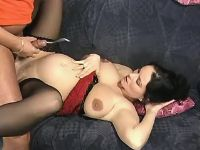 Brunette preggo gets cum on paunch