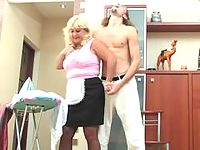 Chubby housewife ironing before getting tricked into hot suck-n-fuck action