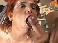 Ardent redhead milf catching facial