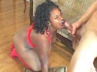 Black plumper gets cumload in mouth