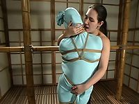 Maria Shadoes Bridgett Harrington and Teager in Hogtied.