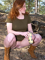 Spying on nice teen peeing in the forest