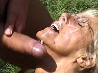 Grandma gets messy facial in forest