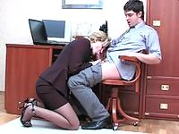 Lusty secretary in luxury pantyhose bending over for fucking right on table