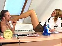 Lusty babe in silky hose massaging fat cock in various ways right in office