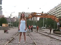 Teen doll throws her little dress off in public