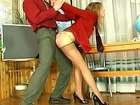 Luscious chick in control top pantyhose knows how to handle with a boner