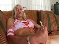 Guy and blonde shemale jizz by turn
