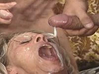 Numerous guys fill cum in old lady