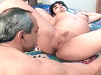 Mature stud massaging pregnant whores huge tits
