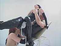 Whores in black latex in wild orgy