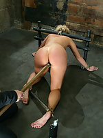 Another new face at Hogtied Hollie Stevens first time BDSM.