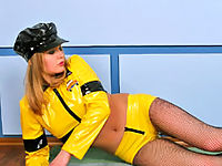 Blonde In Latex Taxi Driver Uniform And Pantyhose