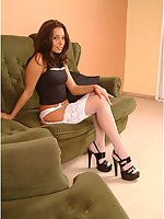 Sexy teen babe Katrin: high heels, garter belt and white stockings