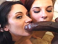 Horny white sluts share a thick load of black cock cum