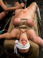 Huge natural tits tied tightly and shocked!!!