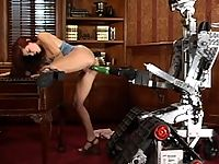 Sarah Blake gets fucked by huge dongs and a robot.