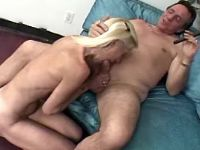 Granny sucks cock and licks asshole