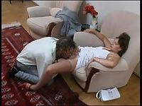 Curious guy examining babe's pantyhosed pussy with his fingers and hard rod