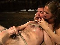 Tory Lane kicks him fucks him and force milks him