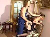 Black-stockinged babe forced into screwing by a lusty nylon crazy plumber