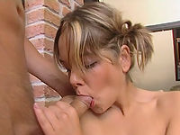 Teeny enjoys the taste of cock and cum and takes four fingers in her well-stretched cunt.
