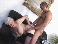 Granny fucks n gets cumshot on ass