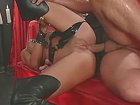 Latex shorty gets anal penetration