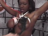 Black slave bound up and spanked hardcore