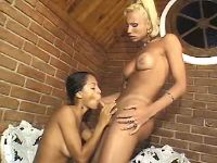 Ethnic cutie licked by lewd shemale