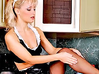 Gorgeous Blonde Maid In Stockings Teasing In The Kitchen