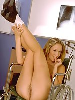 Blonde showing off inside a clinic