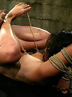 Wrestling star Ninja gets hogtied and hung by her feet