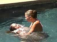 Jade Marx and Audrey in bikinis having kinky S&M fun by the pool