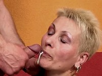 Aged mom in stockings gets facial