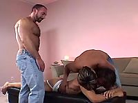Horny mature gays spoil cute guy in group
