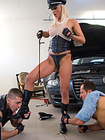 Fetish babe on boots finds two guys to fuck